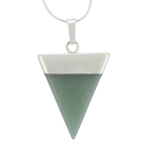 Top Quality Natural Green Aventurine Healing Point Reiki Chakra Triangle Cut 18-20 Inch Gemstone Pendant Necklace (1pc) in Gift Bag #GGP-A6