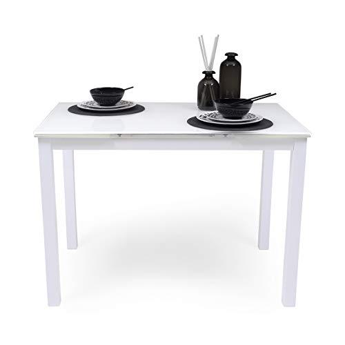 Homely Mesa de Cocina Extensible Paris Total White sobre de Cristal y Estructura en Metal 110/170x70cm (Blanco Total)