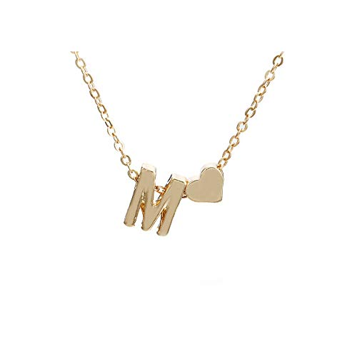 Gold Name Jewelry - WLLAY Fashion Tiny Dainty Love Heart Initial Necklace Personalized Letter Necklace Name Jewelry for Women Accessories Girlfriend Gift (Gold M)