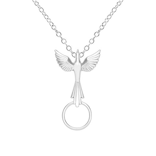 SENFAI Flying Delicate Dove Eyeglass Holder Necklace True Gold Plated Nickel Free (Silver)