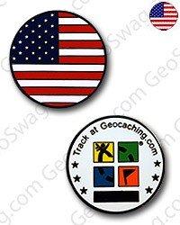 USA Flag Micro Geocoin (BN)