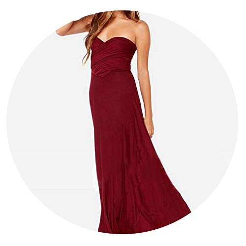 Sexy Women Multiway Wrap Convertible Boho Maxi Red Bandage Long Dress Party Bridesmaids Robe Femme,Color 3,L
