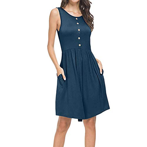 Aunimeifly Women's Summer Casual Loose Plus Size Swing Pockets Dress Solid Button Sundress Navy
