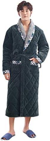 [HR株式会社]ナイトガウン ルームウェア メンズ 裏ボア 柔らかい 厚手 防寒 部屋着 秋冬用