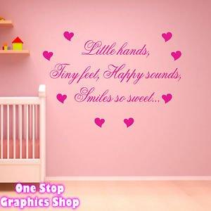 1stop Graphics Shop Little Hands Tiny Feet Wall Art Quote Sticker