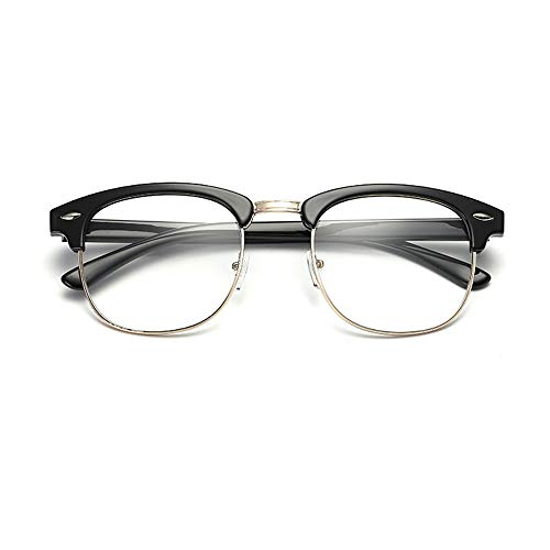 New Vintage Classic Half Frame Semi-Rimless Wayfarer Clear Lens Glasses (black)