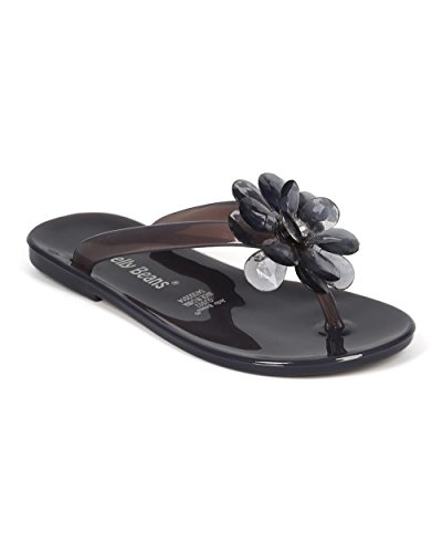 JELLYBEANS Jelly Flower Gem Slip On Thong Sandal  CE84 - Bla