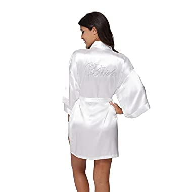 TheBund Women's Pure Colour Short Kimono Robes for Bride White Robe XL Size