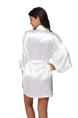 The Bund Women's Pure Colour Short Kimono Robes for Bride White Robe M Size (Embroidered Print Pajama Set)