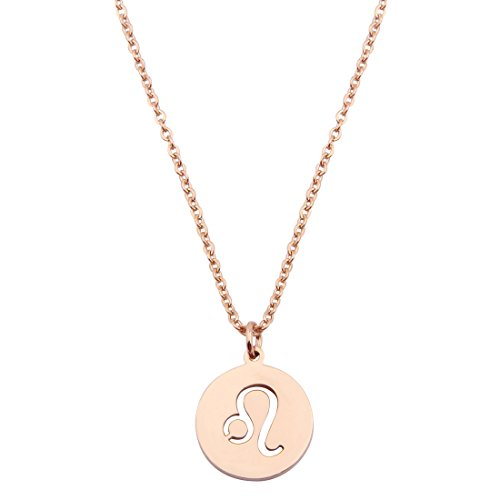 Stainless Gold Leo Zodiac Pendant Necklace - 1