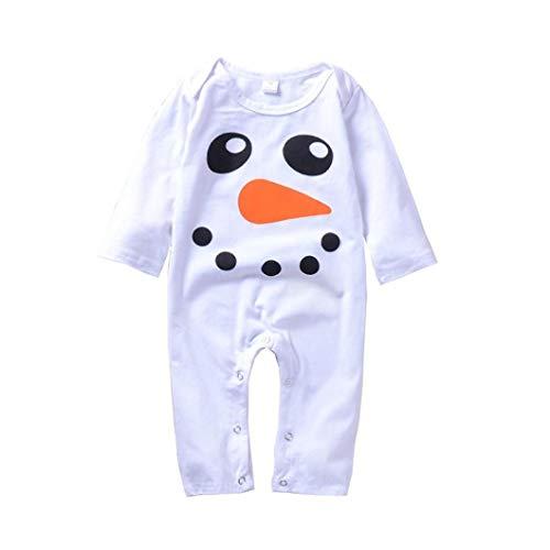 Newborn Baby Boy Girls Long Sleeves Cute Snowman Print Romper Jumpsuit (12M, White) ()