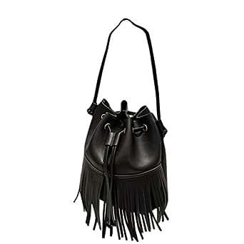 Waymine Women's Bow Bucket Handbag Tassel Messenger Bag Solid PU Phone Coin Bag Purse Crossbody Bag