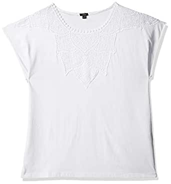 OVS Women's 191TSH132-71 BLOUSE WITH LACE, White (Optical White 5002), Size: Large