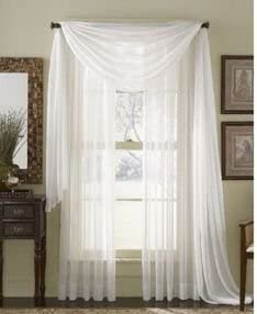 GorgeousHomeLinen 3PC Ivory 2 Sheers 84 length Rod Pocket Window Curtain Panels 1 Elegant Swag Scarf Valance 216 length