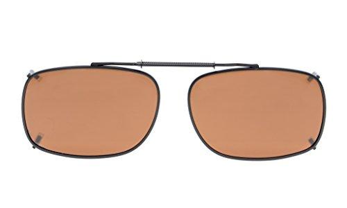 Eyekepper Metal Frame Rim Polarized Lens Clip On Sunglasses 2 1/8