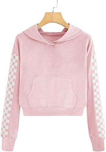 KunLunMen Kids Crop Tops Girls Sweatshirts Long Sleeve Plaid