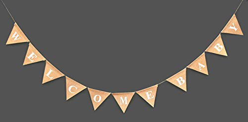 WELCOME BABY Burlap Banner-Elegant Baby Shower Banner-Pink / Blue feet Welcome-Ornate Welcome Baby Home Décor- Pregnancy Reveal Photo Prop