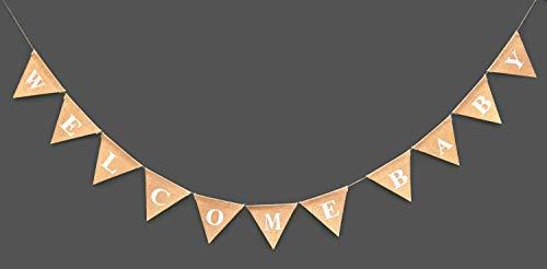 WELCOME BABY Burlap Banner-Elegant Baby Shower Banner-Pink /