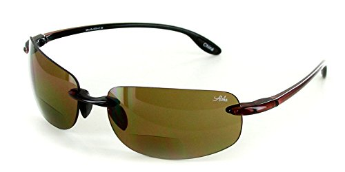 (Aloha Eyewear Oahu Sun Deluxe Wrap-Around Rimless Bifocal Sunglasses (Tortoise w/Amber +2.50))