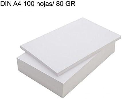 NOVEDAD!! Paquete folios 50 hojas blanca DIN A4/ 80GR Papel fotocopiadora impreso: Amazon.es: Oficina y papelería
