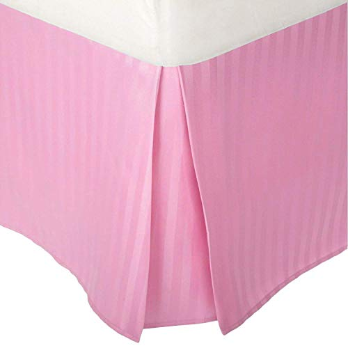 (Unique Beddings Egyptian Cotton Bed-Skirt (Queen, Light Pink) with 12