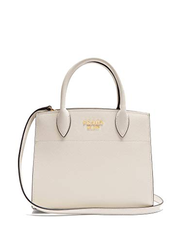 - Prada Saffiano City Leather White Handbag w Black Trim Bibliotheque Tote Bag 1BA049