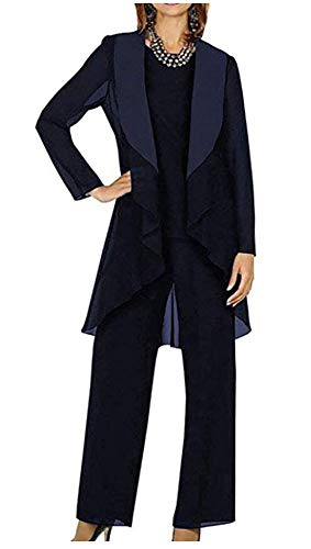 3 PC Chiffon Mother's Outfit Pants Suits for Wedding Plus Size Women's Evening Gowns Dress Suit Dark Navy US18W