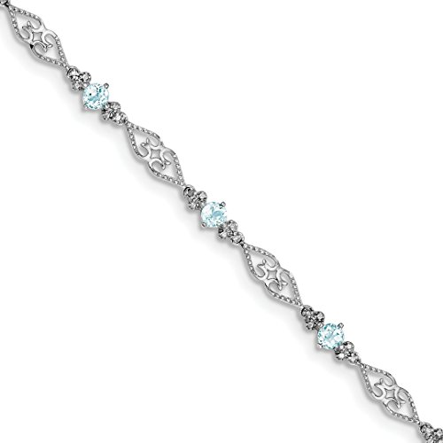 925 Sterling Silver Diamond Blue Aquamarine Bracelet 7 Inch Gemstone Fine Jewelry For Women Gift ()