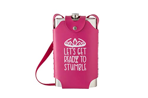 Large Oversized 64 oz Stainless Steel Flask with Pink Strap (Get Ready To Stumble) ()