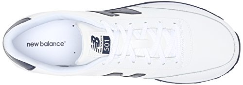 888546344532 - New Balance Men's NB501 Leather Collection Classic Running Shoe, White/Navy, 9 2E US carousel main 7