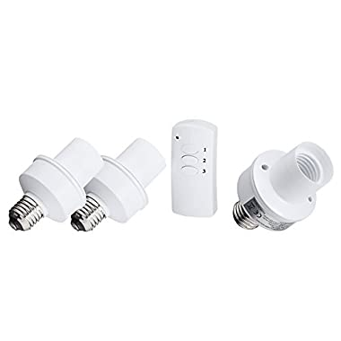 LED Concepts® Remote Control Wireless Light Bulb Socket Cap Switch for Lamps Bulbs and Fixtures (Set of 3 Sockets)