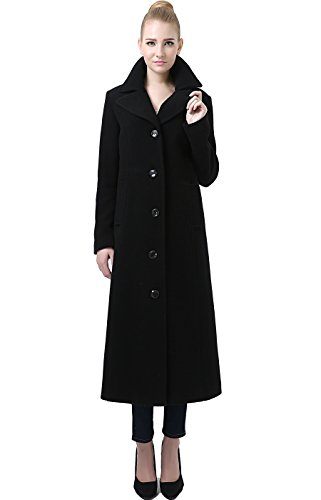 BGSD Women's Jeanette Long Wool Blend Maxi Walking Coat - Black XL