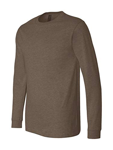 Bella + Canvas Unisex Jersey Long-Sleeve T-Shirt - HEATHER BROWN - S - (Style # 3501 - Original Label)