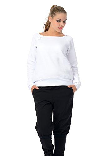 3Elfen maglione donna con scollatura barca/sweatshirt nero blu grigio rosso bianco/sweater stampa piccolo fata Bianco Nero
