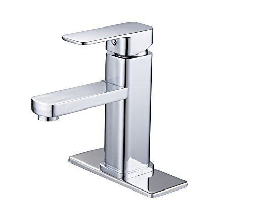 - Greenspring Single Hole Square Solid Brass Bathroom Sink Faucet Commercial Basin Mixer Tap,Chrome Finished