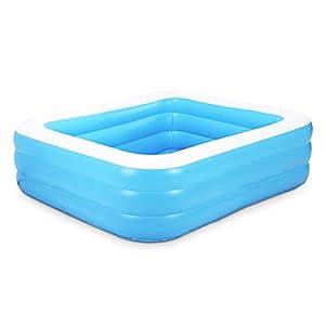 QASIMO Piscina Hinchable Rectangular Azul Grueso PVC -110 * 88 * 33 CM