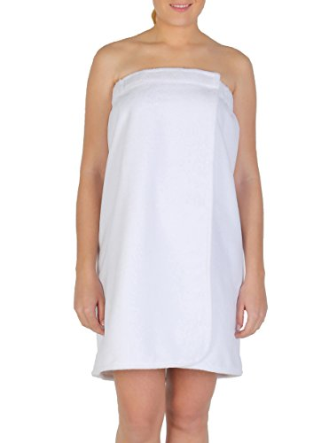 Arus Women's GOTS Certified Organic Turkish Cotton Adjustable Closure Bath Wrap P/S Ice White