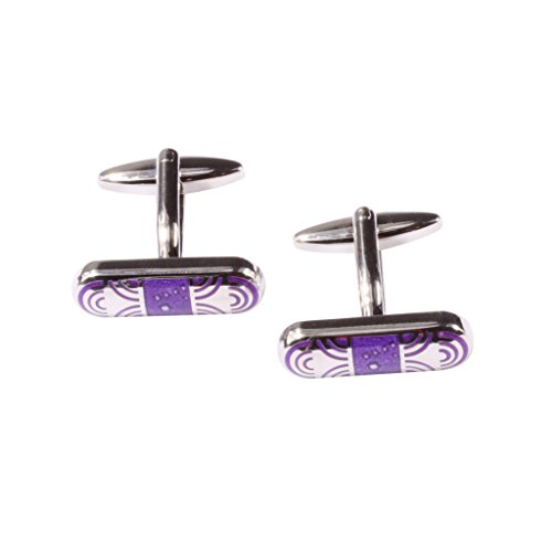 Digabi Jewelry Mens Cufflinks Rounded Rectangle Shaped Purple Platinum Plated Gift Boxed