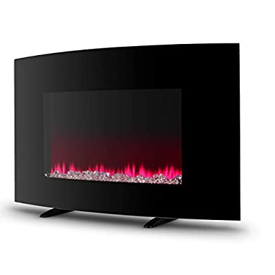 "DELLA 37"" inch XL Heat Electric Wall Mount Adjustable Fireplace Heater Recessed with Remote Control, 1400w, Black"