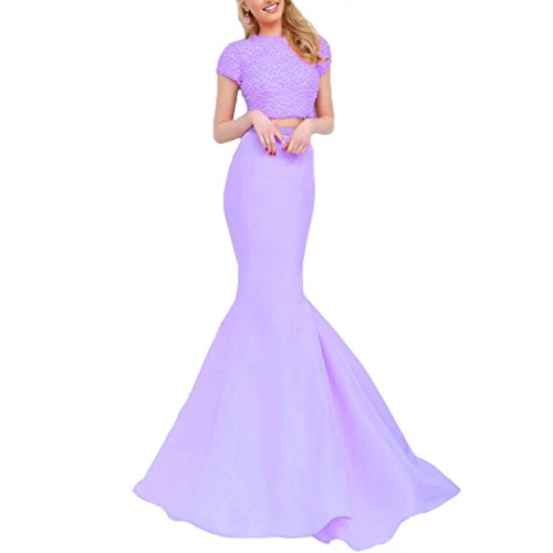 Satin Two Lavender Piece Women's Long Dress Prom Dress Back Keyhole 2018 Mermaid Mermaid Cocktail Dimei vw5dSq6nFw