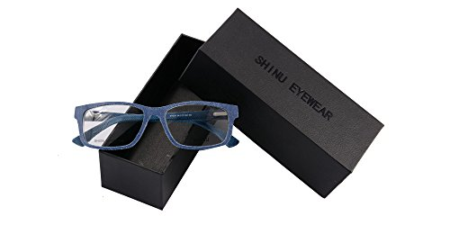 SHINU Denim-trimmed Frame Anti Blue Light Goggles Blublocker UV400 Clear Lens Eyeglasses-SH006(c5,demo - Glasses Denim