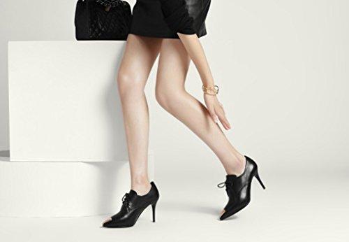 talons talons Cuir Dentelle Chaussures à Chaussures hauts 3 Bouche cuir pointu hauts automne en taille à 1 et chaussures élégance véritable Couleur simples profonde chaussures Printemps mince 1 R1W6rR