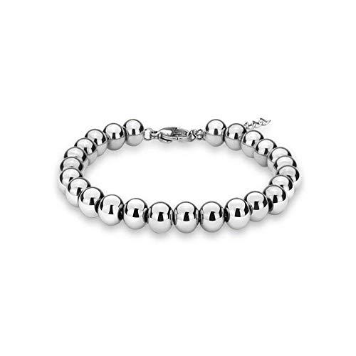 Verona Jewelers Sterling Silver 4MM-10M Italian Bead Ball Chain Bracelet- Handmade Bead Italian Bracelet,925 Sterling Silver Bracelet (8, - Sterling Silver Ball Chain 925