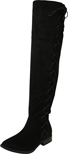 - Cambridge Select Women's Closed Round Toe Thigh High Side Lace-Up Corset Chunky Stacked Low Heel Over The Knee Boot,6 B(M) US,Black IMSU