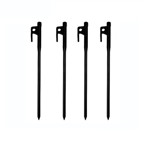 AVESON Pack of 4 Burly Solid Forged Steel Camping Tent Stakes, Heavy Duty Tent Pegs with Nylon Pouch - Black (Length:7.8