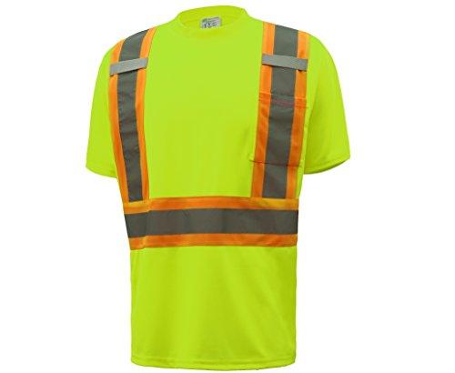 CJ Safety CJHVTS2004 ANSI Class 2 Two-tone High Vis Short Sleeve Safety Shirt Moisture Wicking Mesh (Medium, (High Vis Tape)
