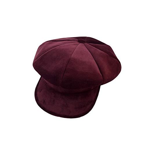 - Women Girl Newsboy Cabbie Berets Cap Velvet Winter Warm Ivy Gatsby Cap Outdoor Sun Hats Ins Fashion (Wine red)