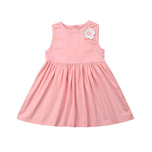 Kids Baby Girl Dress Patchwork Wings Casual Sleeveless Floral Party Sundress Summer Clothes 2T-7T Pink -