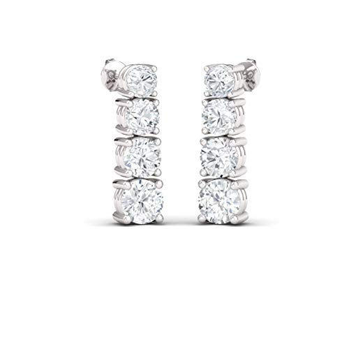 Diamondere Natural and Certified Diamond Journey Earrings in 14K White Gold | 0.96 Carat Stud Earrings for Women