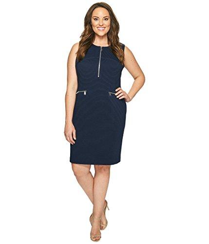 グレートオーク核狂った[カルバンクライン] Calvin Klein Plus レディース Plus Size Sleeveless Textured Dress with Zippers ドレス [並行輸入品]